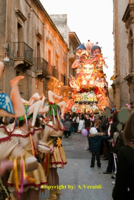 Carnival in Sciacca with allegoric cars