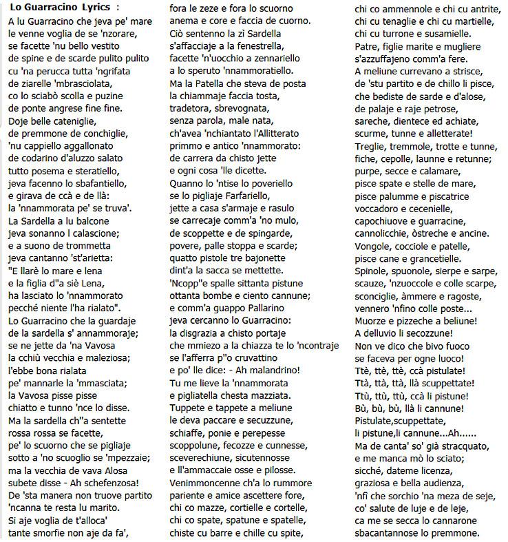 lyrics italy: