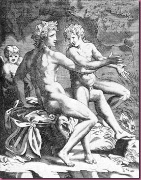 Apollo and Hyacinthus, 16th-century Italian engraving by Jacopo Caraglio
