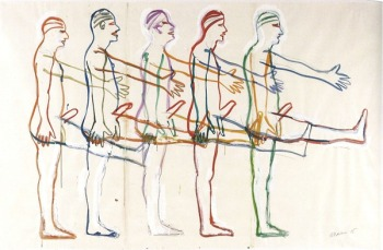 bruce-nauman-five-marching-men-1985