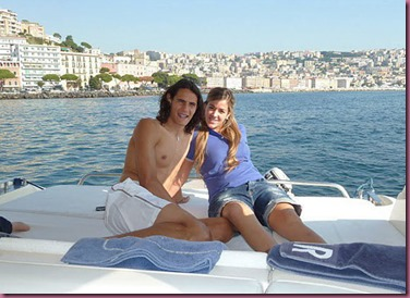 Cavani and wife in Naples