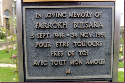 Freddie Mercury burial plaque
